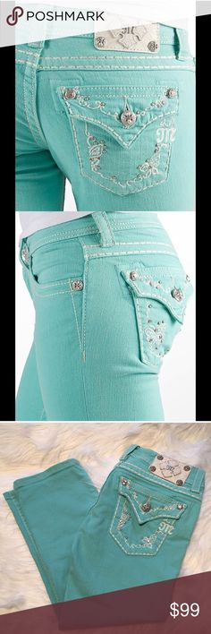 """Miss Me Mint Capri Stretch Jeans 27 excellent Very clean and in excellent preloved condition. This is my favorite color in the whole wide world and I wish these were my size. Very rare and priced accordingly. 2% elastane. Size 27. 28"""" unstretched waist. 7"""" rise. 22"""" inseam. Miss Me Jeans Ankle & Cropped"""