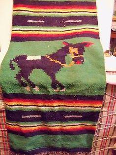 Vintage-Serape-Mexican-Rug-Fringe-Burro-Donkey-Stripes-Woven-Greens-amp-Oran-48x19