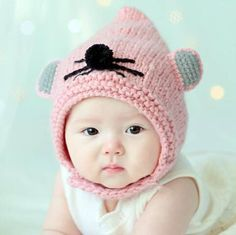 e6e46ed68ba Cute mouse knit hats with ears for baby pink winter hats with ear flaps