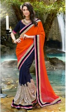 Navy Blue Color Georgette Embroidered Party wear Sarees with Stitched Blouse…