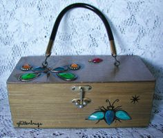 Enid Collins Vintage Box Bag  ... glitterbugs  I have one of these but it has birds on it.  BL