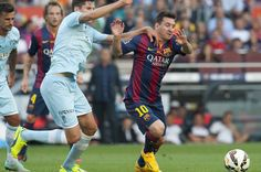 Leo Messi durante una accion del partido