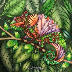 Finished 'Colourful Chameleon ' from #magicaljungle by #johannabasford. Used #polychromos and a Uniball black pen to draw the skin pattern, leaves and dots for the shadows in the background. My finger was so sore from holding the pen doing all those dots!! ❤️✏️