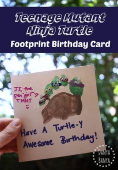Teenage Mutant Ninja Turtle footprint birthday card