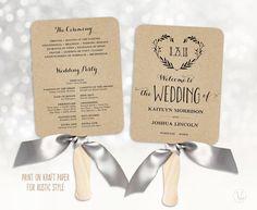 Wedding Fans Printable Program Template Fan Programs Editable Text 5x7