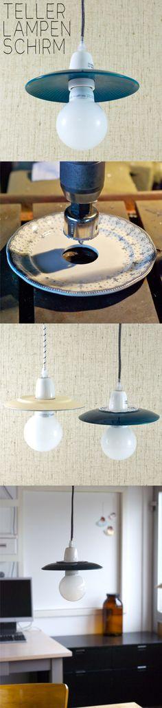 Lámpara con platos de cerámica / via johannarundel