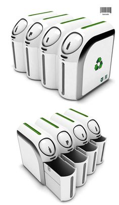 Barcode Trashcan - Just swipe the item and the correct bin for recycling opens for you!