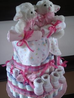 Diaper Cake for Twin Girls <3 My Brother is having twin girls! PERFECT Idea!!