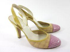 AUTHENTIC PRADA Yellow Pink Closed Toe Slingbacks Heels Pumps Shoes Size 38 1/2 at www.ShopLindasStuff.com