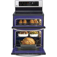 """LG - 30"""" Self-Cleaning Freestanding Double Oven Electric Convection Range - Stainless-Steel - Alternate View 3"""