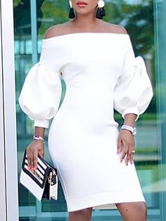 Shop Bodycon Dresses Puff Sleeve Off Shoulder Bodycon Dress Dress Clothes For Women, Casual Clothes, Casual Outfits, African Dress, Mode Style, Fashion Tips, Fashion Design, Fashion Trends, Fashion Ideas