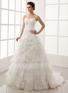Wedding Dresses - $286.99 - Ball-Gown Sweetheart Chapel Train Organza Satin Wedding Dress With Crystal Brooch Cascading Ruffles (002011547) http://jjshouse.com/Ball-Gown-Sweetheart-Chapel-Train-Organza-Satin-Wedding-Dress-With-Crystal-Brooch-Cascading-Ruffles-002011547-g11547