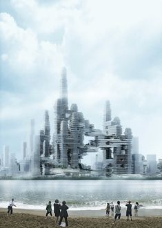 """""""Cloud Citizen"""" Awarded Joint Top Honors in Shenzhen Bay Super City Competition,Courtesy of Urban Future Organization and CR-Design Concept Architecture, Futuristic Architecture, Amazing Architecture, Sci Arc, Eco City, Future Buildings, Invisible Cities, Tower Building, Urban Fabric"""