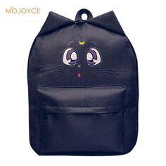 Cute Cat Ear Canvas Printing Backpacks for Teenage Girl Summer Fashion  Student Cartoon Cute School Bag Bagpack mochila sac a doc 8f3dfc60b2bb4