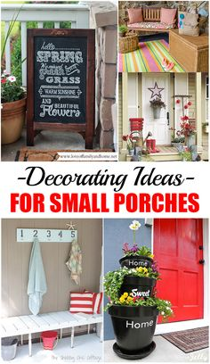 Decorating Ideas for Small Porches.  DIY Projects and Home Decor ideas for small porches.