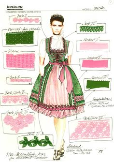 Ah ha! This is a good sample breakdown of all the coordinating textures/fabrics in a fancy dirndl.