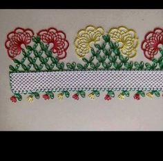 iğne oyası piramit üzerine kırmızı ve sarı çiçekli havlu kenarı - Kadınlar Sitesi Needle Tatting, Needle Lace, Needle And Thread, Crochet Unique, Crochet Lace, Lace Making, Flower Making, Linen Towels, B 13
