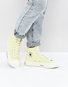 Shop the latest Converse Chuck Taylor All Star Hi Sneakers In Yellow trends with ASOS! Free delivery and returns (Ts&Cs apply), order today! Yellow Converse, New Converse, Converse Chuck Taylor All Star, Yellow Sneakers, Converse Haute, Chuck Taylors, Yellow Fashion, Shoe Game, Trainers