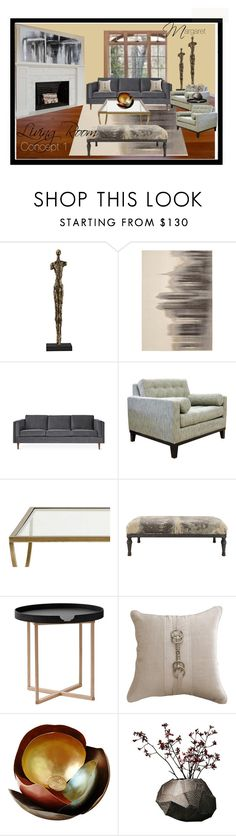 """Maragaret Living Room"" by annetuckley on Polyvore featuring interior, interiors, interior design, home, home decor, interior decorating, Calvin Klein, Gus* Modern, Ballard Designs and Gentry"