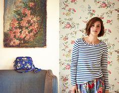 Cath Kidston AW15 - Breton Strip Ink Top & Chelsea Flowers Cross-Body Bag