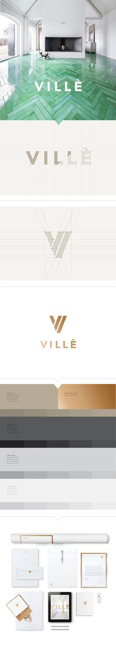 We worked with Villè, a well-established company providing architectural and design solutions to real estate developers in the A&D community. Knowing that the result of the project required nothing less than high-end luxury, we chose to create a brand rev Brand Identity Design, Graphic Design Branding, Corporate Design, Logo Branding, Brand Design, Real Estate Branding, Real Estate Logo, Home Luxury, Luxury Logo
