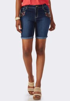 Cato Fashions Botanical Embroidered Bermuda Jean Shorts #CatoFashions