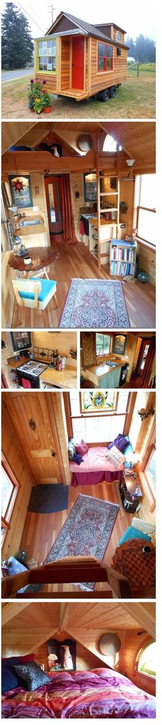 This 130 sq ft hideaway is for sale. Front room features scrap-steel and Milestone entry, fir floor, cathedral ceiling and window seat. Leaded glass dormers invite light and cross-breeze through sleeping loft. Kitchen has propane oven range, stained glass cupboards, toe-kick drawers. Walk-in closet with vanity/desk. Knotty pine paneling, exterior cedar shingles, siding and trim. | Tiny Homes