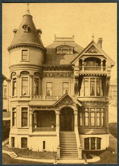 """c.1890s SAN FRANCISCO VICTORIAN HOME""    ""P.A. Lilienthal Residence located at Clay & Franklin Street....San Francisco, California. Architect, Pissis & Moor    Historical Reproduction...Linen Style Sepia Tone 4x6 Continental Size Postcard    Published by Marilyn Blaisdell, former owner of the San Francisciana memorabilia store which was located in the historic Cliff House, San Francisco, California. 38 Year Old Brand New Never Circulated Postcard with 1974 Copyright Date."