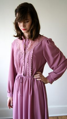 70s Day Dress Vintage Dusty Rose Edwardian by NewOldFashionVintage