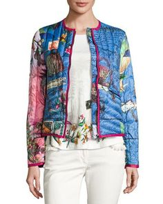 ETRO POSTCARD-PRINT QUILTED JACKET, BLUETTE. #etro #cloth #