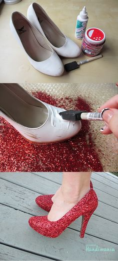 Make a pair of sparkly red shoes just like Dorothy in The Wizard of Oz    You have to paint them again with Mod Podge after you're done with the glitter. Seal the shoes with a layer of Mod Podge and the glitter won't come off