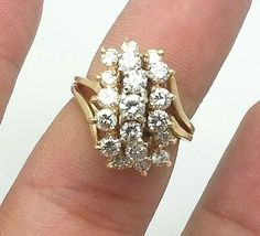 2.75CT Diamond Cluster Ring 14k Yellow Gold Size 7 Cocktail, Anniversary, Bridal #diamondring #ring