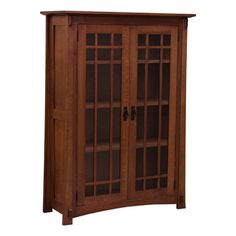 "38"" Amish Mission Bookcase w/Waterfall Glass Doors - OFJAB385415G1"