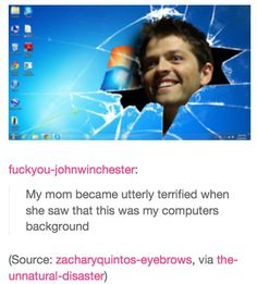 LOL #Misha #Collins My friend has this as her background.... It's purple though XD @Tori Sdao Lambert