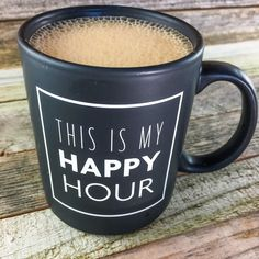 because coffee is happiness in a cup! get this chic matte black mug, perfect for the coffee lover who loves sipping a warm cuppa joe while journaling. suitable
