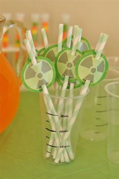 I like the straws with the hazard tags so I can write their names, these will go great with the beakers.