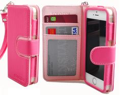SOLOZEN Two Tone Diary ID Credit Card PU Leather Wallet Case for iPhone 5S / 5 - Pink