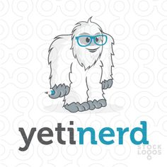 Logo for sale: Character illustration of a yeti wearing nerdy glasses and holding a pencil.