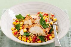 Lime-spiced chicken with pearl barley & corn salad. A meal to eat if you want to avoid high cholesterol foods. Corn Salad Recipes, Corn Salads, Chicken Spices, Chicken Recipes, Cholesterol Lowering Foods, Cholesterol Symptoms, Cholesterol Levels, Pearl Barley, Cooking Recipes