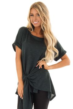 1a4bef080bd Dark Emerald Two Tone Short Sleeve Top with Front Side Tie Boutique Tops,  Cute Boutiques