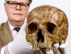 Lot 1056... One of the crazier lots... A human phrenology skull from the collection of F J Gall