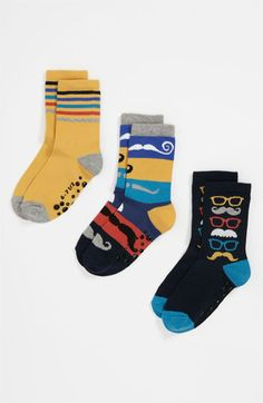 Nordstrom 'Mustache Party' Socks (3-Pack) (Kids) available at #Nordstrom