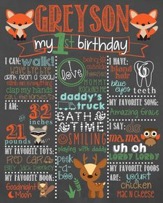 Woodland Birthday Chalkboard / Fox First Birthday by LetsGetChalky