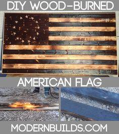Build a wood-burned American flag using the Japanese technique shou-sugi-ban. www.modernbuilds.com