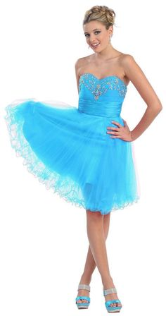 Fun and Flirty Short Strapless Turquoise Homecoming Dress Cocktail