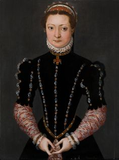 ca. 1558   POURBUS_Portrait_femme_WG.jpg (1719×2303) Technically, it isn't English but Flemish. However, stylistically it is very close to the English fashion at this time.