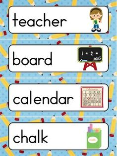 School Words Word Wall {FREE}. Includes a personal word wall for students, a file-folder word wall for the writing/word work center and big cards for the classroom wall. In color and black and white.