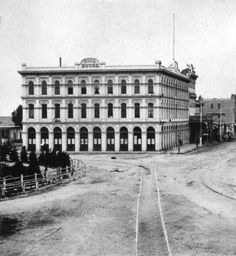 Brand new Pico House Hotel, c.1871, a once-opulent hotel where 19 Chinese immigrants were murdered during a brutal 1871 race riot. Los Angeles, CA