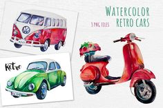 Watercolor cars by Peace ART on @creativemarket
