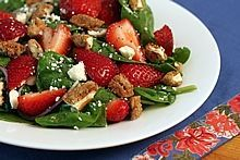Spinach Strawberry Salad with Candied Pecans, Feta, & Raspberry Poppyseed Dressing. Beautiful, refreshing, and delicious!